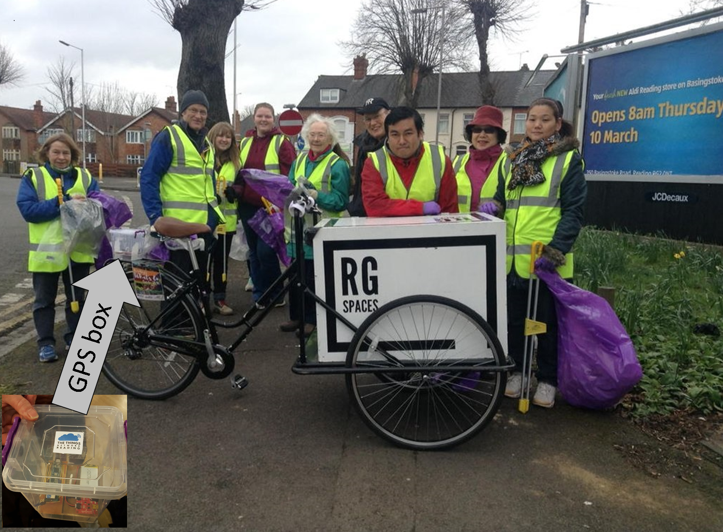 Tricycle with GPS box at litter picking event